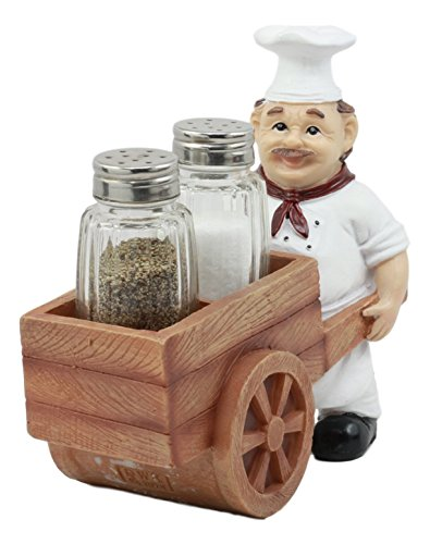 Ebros Spice A La Carte Delivery Master Iron Chef Pushing Wheelbarrow Cart Salt And Pepper Shakers Holder Figurine Statue 6.5