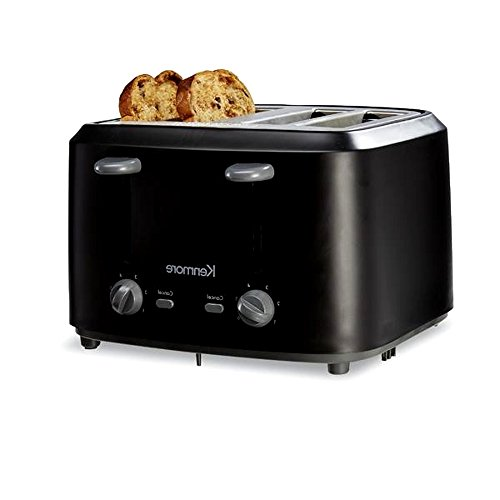 Heavy Duty 4 Slice Toaster, Best Rated Black Metal Finish Contemporary Stainless Steel Housing with Crumb Tray & E-Book