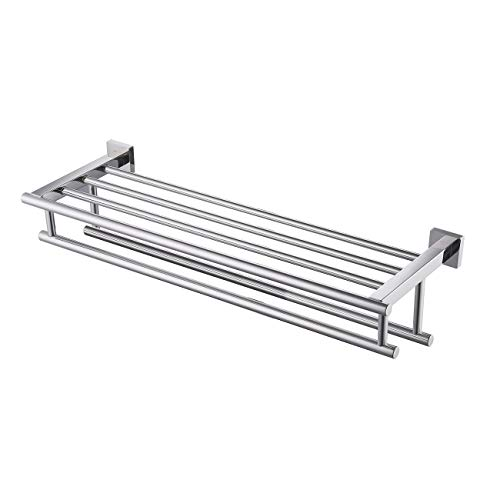 - Kes Towel Shelf with Double Towel Bar Rack Organizer for Bathroom 24-Inch Stainless Steel Wall Mount Polished Finish, A2112S60