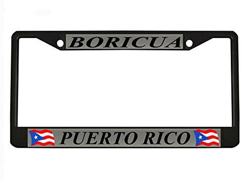 Rico Puerto Metal (BORICUA PUERTO RICO black Metal Auto License Plate Frame Car Tag Holder)