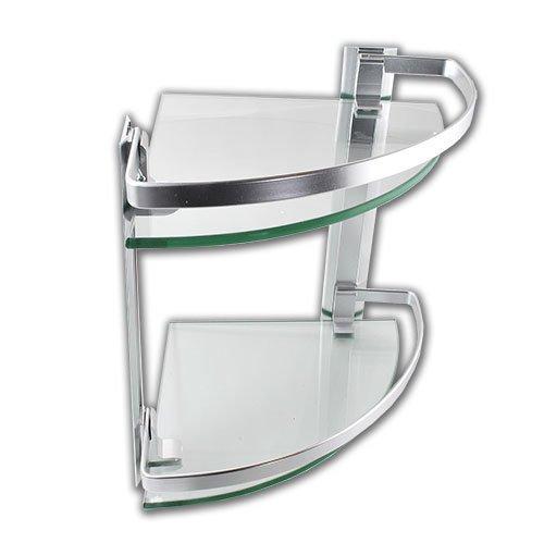 2 Tier Chrome Corner Bathroom Glass Storage Shelves Accessories:  Amazon.co.uk: Kitchen U0026 Home