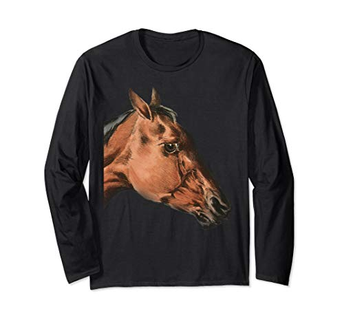 Horse Shirts | Vintage Horse Illustration Art Shirt Long Sleeve T-Shirt