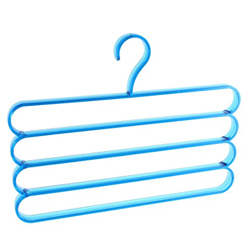 uxcell Plastic 4 Layers Dual Use Pants Scarfs Clothes Hanger