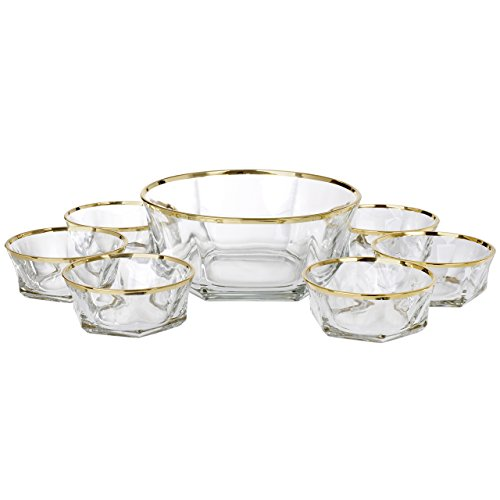 5th Avenue Collection Italian Crystal Salad Serving Bowels 14 Carat Band 7 Piece - 5th Stores On Avenue Best
