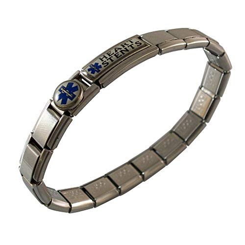Gadow Jewelry Heart Stents Medical ID Alert Italian Charm Bracelet Enamel Blue