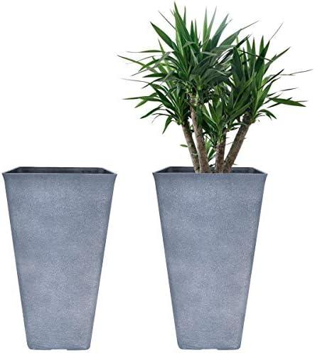 Tall Planters 20 Inch, Flower Pot Pack 2, Patio Deck Indoor Outdoor Garden Tree Resin Planters Gray