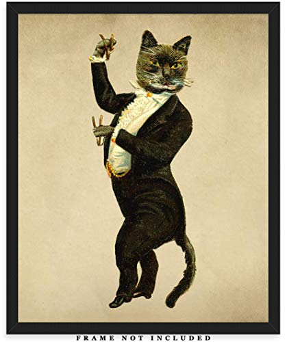 Vintage Victorian Cat Wall Art Print: Unique Room Decor for Boys, Men, Girls & Women - (8x10) Unframed Picture - Great Gift Idea for Cat - Victorian Ladies Pictures