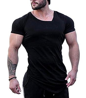 Jinidu Men's Bodybuilding Muscle Training Short Sleeve gym Workout Fitness T shirt