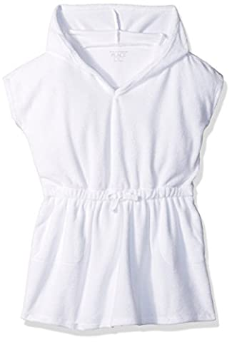 The Children's Place Baby Toddler Girls' Her Li'l French Terry Swim Cover-up, White, 4T - White Terry Hooded Cover Up