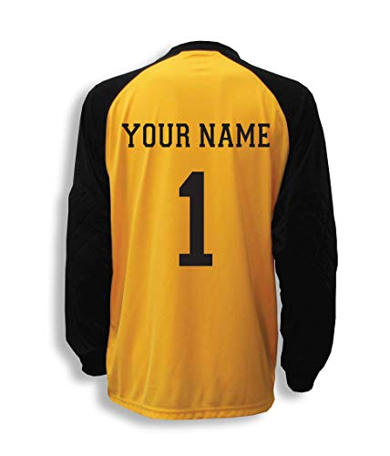 Code Four Athletics Soccer Goalkeeper Jersey Personalized with Your Name and Number - Color Gold - Size Adult Large
