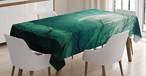 Halloween Decorations Tablecloth by Ambesonne, Scary Dark Night Scenery from Rustic Wood Balcony at Twilight Evil Gothic Savage Fog, Dining Room Kitchen Rectangular Table Cover, 52 X 70 Inches