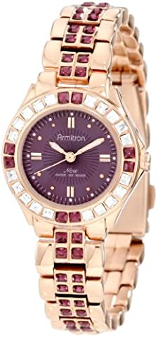 Armitron Women's 75/3689VMRG Amethyst Colored Swarovski Crystal Accented Rose Gold-Tone Watch (Purple Gold Watch)