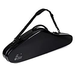 Aileen Violin Hard Case 4/4 Full Size Luxury Fiberglass with Hygrometer Suspension, Black
