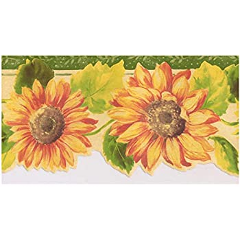 Sunflower Country Kitchen Laundry Wallpaper Border Wallpaper