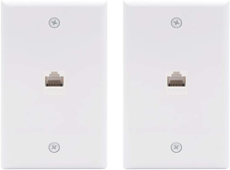 VCE 2-Pack 1 Port Ethernet Wall Plate, UL Listed RJ45 Cat6 Female to Female Keystone Jack Inline Coupler FacePlates - White