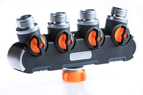 Water Manifold - 2wayz 4 Way Garden Hose Splitter, Upgraded (2019) Highly Durable Water Manifold Connector