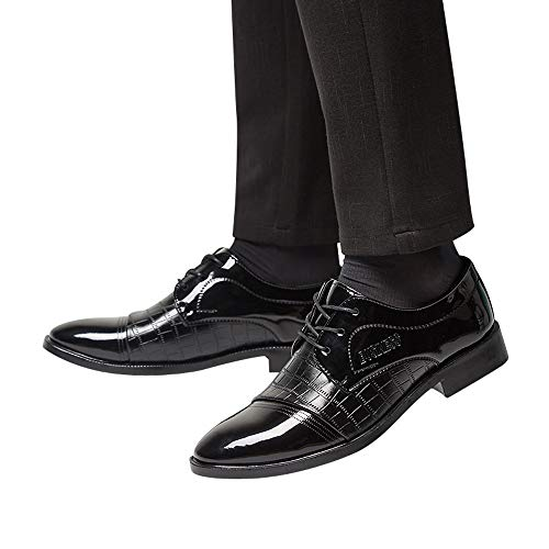 Todaies Men Modern Classic Lace Up Leather Lined Busness Shoes Crocodile Leather Shoes