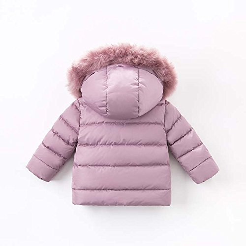 DAVE & BELLA Winter Baby Girls Down Jacket Children White Duck Down Padded Coat Kids Hooded Outerwear - Grey Pink (4T) by DAVE & BELLA (Image #2)
