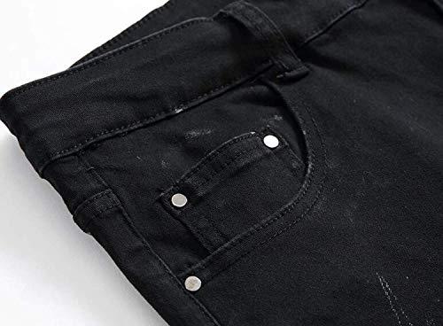 Pantaloni Denier Uomo Nera Nero Slim Vita Vintage Denim Stampa Giovane Media Casual Fit Da A In Jeans Con Dritti Elasticizzati qECwOO