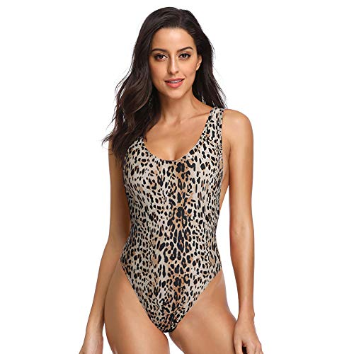 Dixperfect 90s Trend One Piece Swimsuit Low Cut Sides Wide Straps High Legs for Women (L, Leopard)