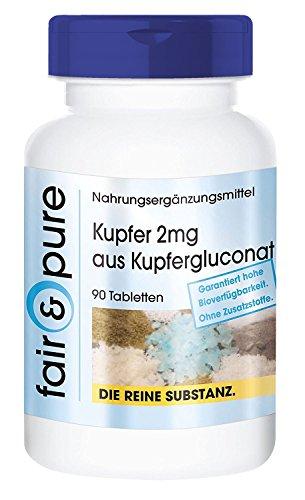 Kupfer 2mg, Kupfergluconat, hohe Bioverfügbarkeit, 90 Tabletten Reinsubstanz, frei von Hilfs- und Zusatzstoffen, vegetarisch