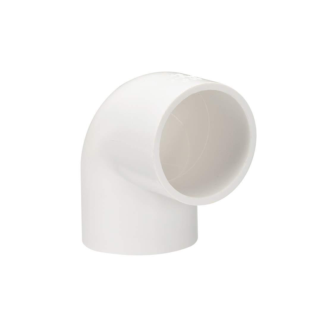 sourcing map Tubo in PVC Raccordo a Gomito a 90 Gradi 40 Pianificazione Bianco 50mm 5pz
