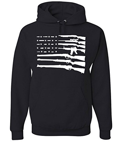 Tee Hunt American Flag Hoodie 2nd Amendment Gun Rights Homeland AR15 Sweatshirt Black XL