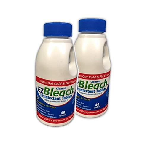 Clearon EZ Bleach Disinfectant Tablets for Whiter Laundry and Disinfecting- 40 Per Bottle (2)