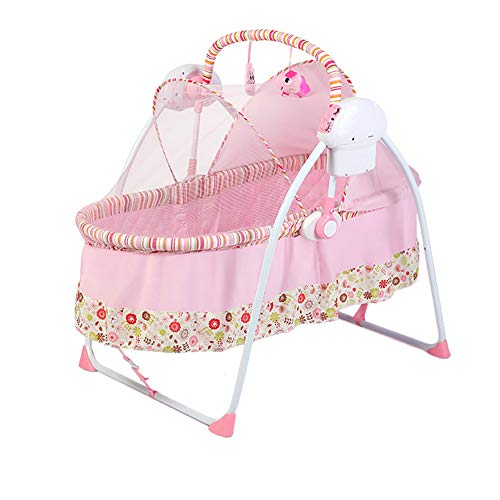 NMPA- Electric Smart Infant Bouncers Balance Toddler Rocker Baby Automatic Folding Shaker Music Comfort Cradle Bed (Color : Pink)