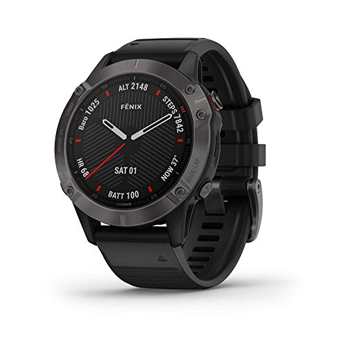 Garmin Fenix 6 Sapphire, Premium Multisport GPS Watch, Features Mapping, Music, Grade-Adjusted Pace Guidance and Pulse Ox Sensors, Dark Gray with Black Band (Renewed)