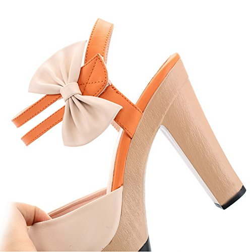 VogueZone009 Womens Open Peep Toe High Heel Platform Chunky Heels PU Soft Material Assorted Colors Sandals with Bowknot Orange CsUSR