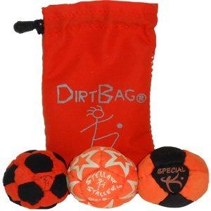 Dirtbag Medley Footbag Hacky Sack 3 Pack - Orange/Black/Orange by Dirtbag