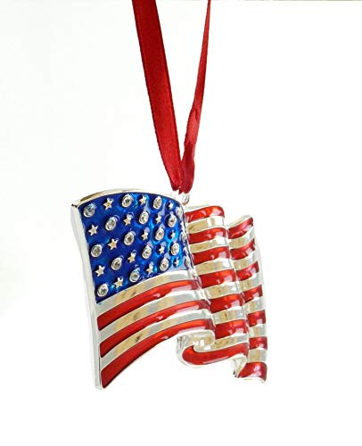 Gerson American Flag Silver Plated Hanging Ornament