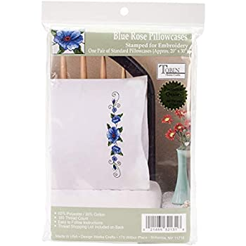 Tobin Blue Rose Stamped Pillowcase Pair for Embroidery, 20