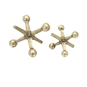 Deco 79 68873 Aluminum Gold Jacks Sculpture Set of 2