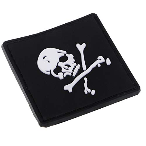 Skull PVC Rubber Patch Tactical Military Badge with Hook Back 59x59mm Black ()