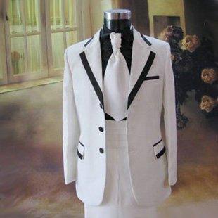QYP Traje blanco MC host Ropa hombre novio vestido de traje ...