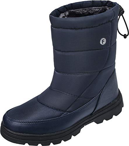 soouops Women's Men's Winter Flat Snow Boots Waterproof Fur Ankle Warm Shoes Navy