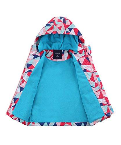 Hiheart Girls Waterproof Fleece Lined Jacket Hood Windproof Rain Coat Pink 9/10 by Hiheart (Image #3)