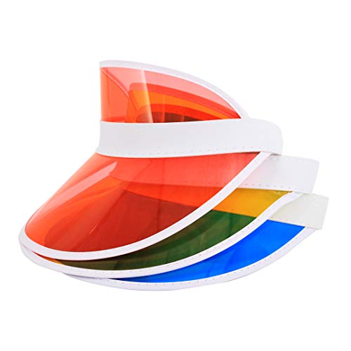 (Surkat 3 Pack Plastics Multicolored Sun Visors UV Protection Hat Cap Hearwear for Golf Tennis Cycle)