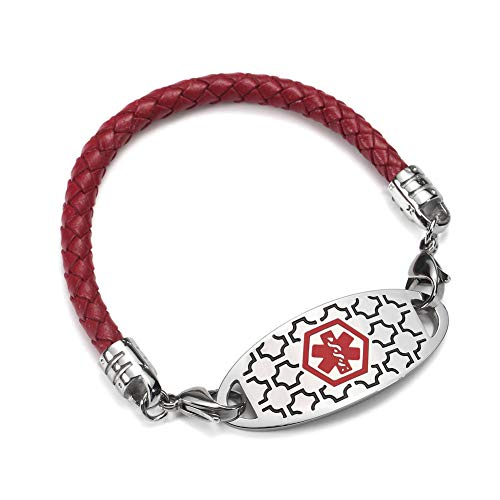 Custom Engraved Medical Alert ID Bracelets Stainless Steel Emergency Tag and Red Bolo Leather Bangle 6inch