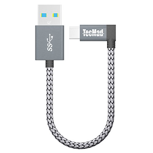 USB a to USB c Cable TecMad 90 Degree Plug Nylon Braided Type C to USB 3.0 Cable for New MacBook,Nexus 5X,Samsung s9 s8 Note 9,LG V30 V20 G6 G5,Hero 6/5,DJI Mavic Pro Drone and More-0.8ft/0.25m Grey