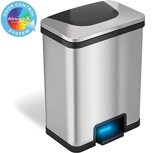 iTouchless AutoStep 13 Gallon Automatic Step Sensor Trash Can with Odor Control System, Stainless Steel Kitchen Pedal Touchless Garbage Bin, Powered by Batteries or AC Adapter (not Included)