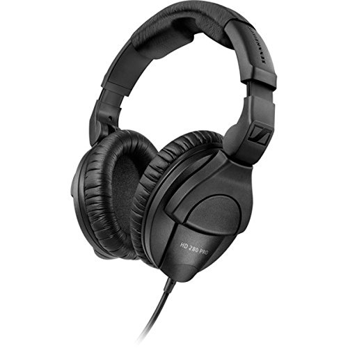 Sennheiser HD 280 Pro Plus Circumaural Closed-Back Monitor Headphones with FiiO A1 Portable Headphone Amp and extra pair soft leatherette replacement ear cushions by Sennheiser (Image #1)