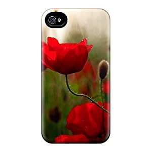 Premium Vibrant Red Poppies Heavy-duty Protection Case For Iphone 4/4s