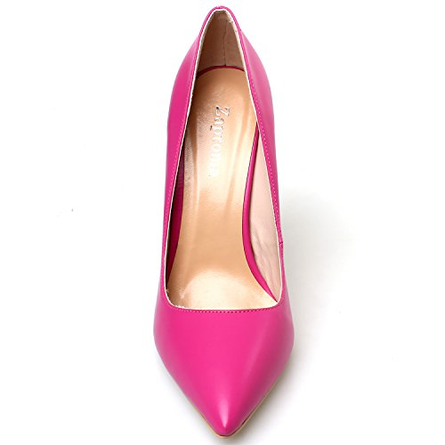 4 Heel Pumps High Luxury US for Stilettos Rose Red 15 Pointed Women ZAPROMA PU Size Shoes Toe Yw0717