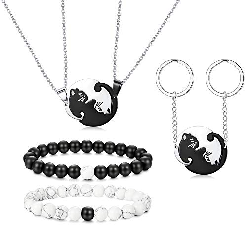 - Thunaraz Stainless Steel Yin Yang Pet Cat Puzzle Pendant Necklace for Couples Couple Bracelet