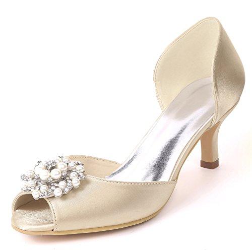 L@YC Femmes Chaussures de Mariage à Talons Bas Taille Satin Party Fait sur Commande CôTé Air Strass/Talons Chaton Champagne 3HAhBJpi