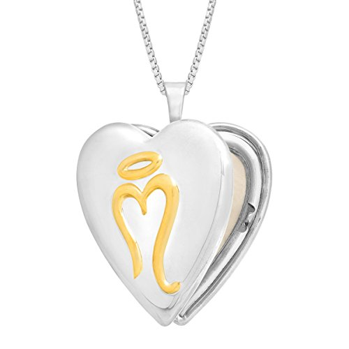 Miracle Heart Locket Necklace Pendant in 14K Gold-Plated Sterling Silver by Finecraft