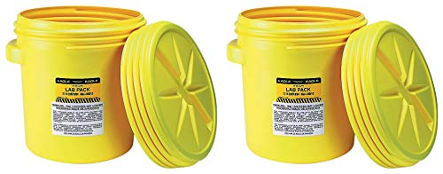 Eagle 1650 Yellow Blow-Molded HDPE Lab Pack with Screw Top Lid, 20 Gallon Capacity, 20.75